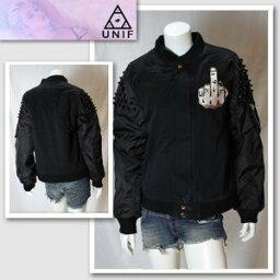 ユニフ 【UNIF/ユニフ】フィンガーワッペン付きブラックジャケット(ブラック・BLK)/レディース【インポート】【セレカジ】【正規品】