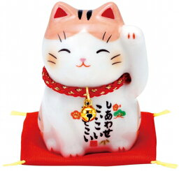 招き猫の置物 彩絵福招き猫 茶とら