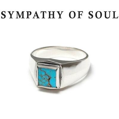 SYMPATHY OF SOUL シンパシーオブソウル Square Turquoise Ring Silver スクエア ターコイズリング シルバー 指輪 LEON SENSE 雑誌掲載 【正規商品 公式通販】
