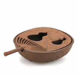 南部鉄器 【南部鉄器】灰皿 うちわ 茶