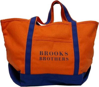 ブルックスブラザーズ コットンキャンバス製 ツートーン トートバッグ オレンジ/ブルー Brooks Brothers TOTE BAG 065