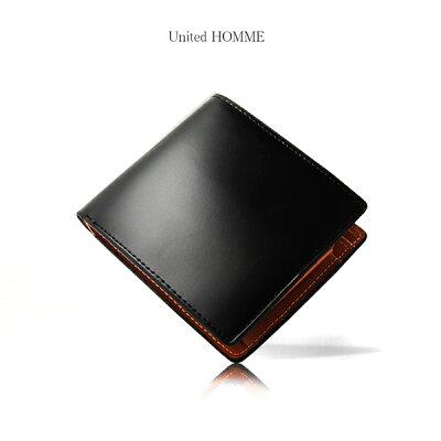 b9ed9f5683bb 財布 二つ折り財布 メンズ【United HOMME -PRESIDENT-】高級馬革コード