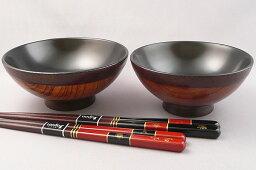 漆器のしもむら 【木製漆器】名入れ布着飯椀と長寿鶴亀夫婦セット/茶碗・箸の夫婦4点セット