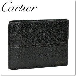 カルティエ カルティエ 折り財布小銭入れなし エボニー サドルステッチ L3001158
