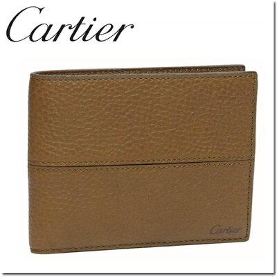 カルティエ 2つ折り財布(小銭入れなし) キャラメル サドルステッチ L3001162 Cartier 正規品