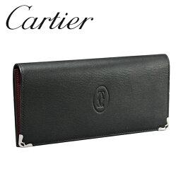 カルティエ 財布(メンズ) カルティエ 長財布小銭入れなし ブラック×ボルドー マスト ドゥ カルティエ L3001361