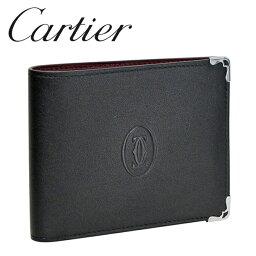 カルティエ カルティエ 折り財布小銭入れなし ブラック/ボルドー マスト ドゥ カルティエ L3001548