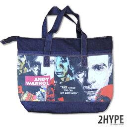 アンディ・ウォーホルクッション Andy Warhol アンディ・ウォーホル KEETATAT SITTHIKET ポップアート デザインバッグ デニム素材 クッション素材入り ネイビー トートバッグタイプ 現代アート 美術 ポップアート