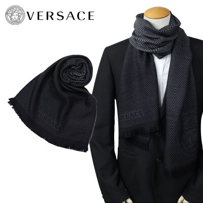 ベルサーチ VERSACE マフラー ヴェルサーチ メンズ ウール イタリア製 カジュアル ビジネス 0645