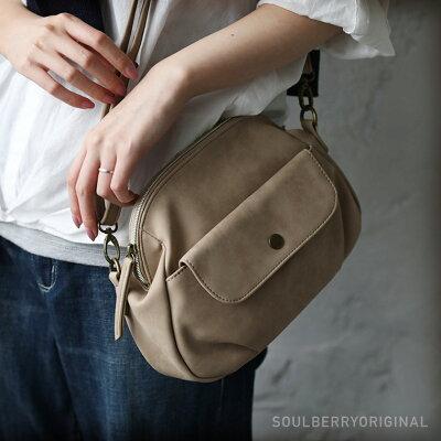 バッグ ころんと丸くてほんのりレトロな、毎日バッグ。フラップポケットミニショルダーバッグレディース/鞄/斜め掛け/ポシェット/合皮/フェイクレザーsoulberryオリジナル