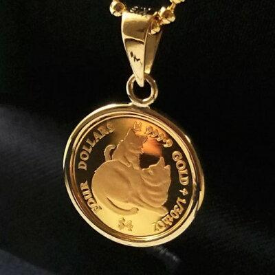 【純金 コイン ネックレス】24金 ねこのミーチョとミーチャ金貨 1/30オンス 2019年製 18金伏込み枠金貨 K24 イタリア ネコ 親子 マザーズラブコイン cats jewelry ペンダント キャット猫 ゴールドコイン