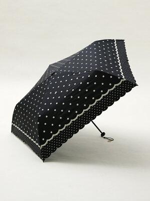 スカラップドットプリント晴雨兼用折たたみ傘 日傘 アフタヌーンティー・リビング ファッショングッズ
