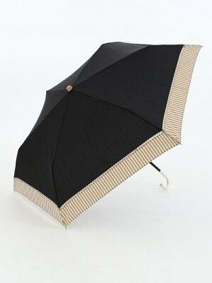 バイカラーストライプ晴雨兼用折りたたみ傘 日傘 アフタヌーンティー・リビング ファッショングッズ