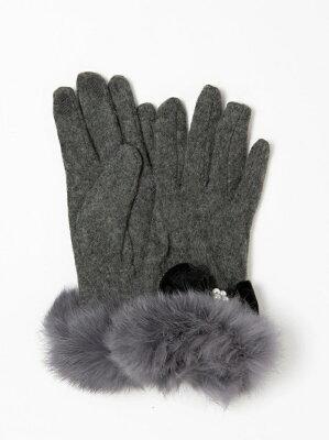 【SALE/30%OFF】CECIL McBEE パールリボン毛付き手袋 セシルマクビー ファッショングッズ【RBA_S】【RBA_E】