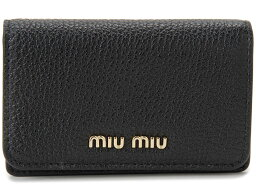 ミュウミュウ 名刺入れ ミュウミュウ MIU MIU 名刺入れ 5MC011 2BJI F0UMV カードケース レザー ブラック×ピンク レディース 新品