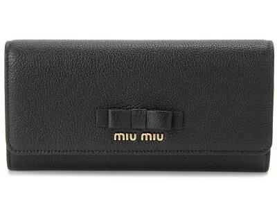 クリアランスセール ミュウミュウ MIU MIU 長財布 5MH109 3R7 F0002 本革 リボン 財布 ブラック レディース
