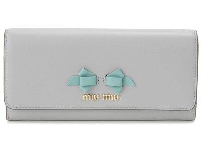ミュウミュウ MIU MIU 長財布 5MH109 UEI F0407 本革 リボン 財布 ライトグレー レディース 新品
