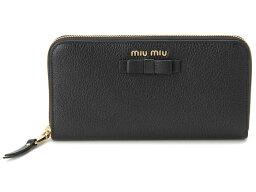 ミュウミュウ 財布(レディース) ミュウミュウ MIU MIU ラウンドファスナー 長財布 5ML506 3R7 F0002 本革 リボン 財布 ブラック レディース