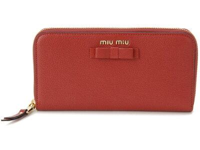 851105720224 ミュウミュウ MIU MIU ラウンドファスナー 長財布 5ML506 3R7 F0JU2 本革 リボン 財布 レッド