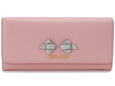 ミュウミュウ MIU MIU 長財布 5MH109 UEI F0002 本革 リボン 財布 ピンク×ライトグレー レディース 新品