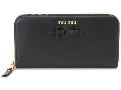 ミュウミュウ MIU MIU ラウンドファスナー 長財布 5ML506 UEI F0002 本革 財布 ブラック レディース 新品 【送料無料】