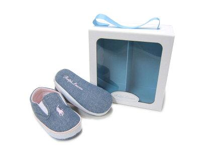 出産祝いに最適♪ギフトBOX入りポロラルフローレンのベビー靴♪ POLO RALPHLAUREN/ポロ ラルフローレンBAL HARBOUR REPEAT バルハーバー リピート RL100226 ライトブルイー