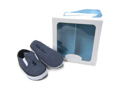 出産祝いに最適♪ギフトBOX入りポロラルフローレンのベビー靴♪ POLO RALPHLAUREN/ポロ ラルフローレンBAL HARBOUR REPEAT バルハーバー リピート RL100225 ネイビー