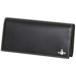ヴィヴィアンウエストウッド 財布(メンズ) ヴィヴィアンウエストウッド (Vivienne Westwood)長財布 かぶせ コントラストステッチ ブラック メンズ
