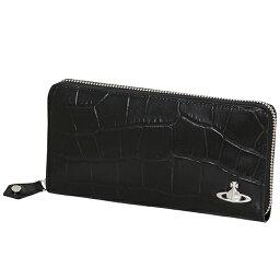 ヴィヴィアンウエストウッド 長財布(メンズ) ヴィヴィアンウエストウッド (Vivienne Westwood)長財布 ラウンドファスナー クロコ ブラック メンズ