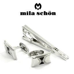 ミラショーン(ネクタイピン) 【mila schon】ミラショーン カフス ネクタイピンセット 専用ボックス付き スワロフスキー MST8345-MSC12345