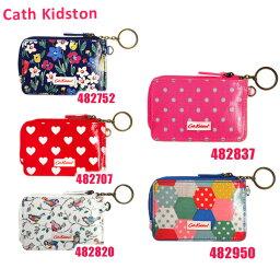キャスキッドソン Cath Kidston(キャスキッドソン) ジップ トラベル パース Zipped Travel Purse with Key Chain 482752 482707 482820 482837 482950 定期入れ 小銭入れ リング付きチェーン 花柄 ドット ハート 鳥 パッチワーク