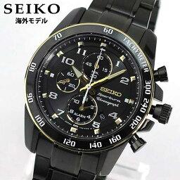 スポーチュラ SEIKO セイコー Sportura スポーチュラ SNAF34P1 クロノグラフ メンズ 腕時計 時計 ウォッチ クオーツ アナログ ブラック 黒 ゴールド 逆輸入 誕生日プレゼント 男性 ギフト ブランド