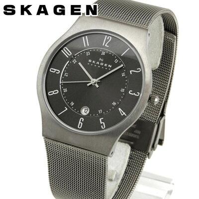 SKAGEN スカーゲン 233XLTTM グレーメンズ 腕時計 チタンケース ステンレスバンド 誕生日プレゼント 男性 卒業祝い 入学祝い ギフト 北欧デザイン ブランド