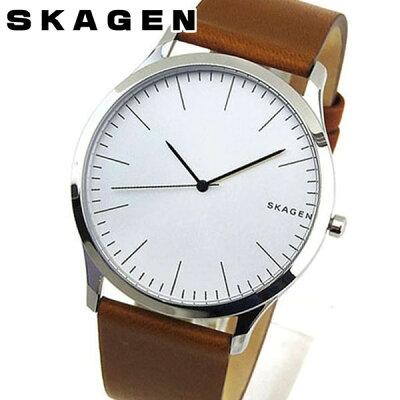 f191285f10 【送料無料】SKAGEN スカーゲン Jorn ジョーン メンズ 腕時計 革バンド レザー 茶 ブラウン 銀