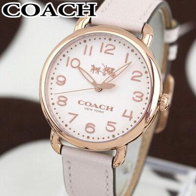 【送料無料】COACH コーチ DELANCEY デランシー 14502716 海外モデル レディース 腕時計 ウォッチ 革ベルト レザー クオーツ アナログ 白 ホワイト ピンク 金 ピンクゴールド 誕生日プレゼント 女性 ギフト