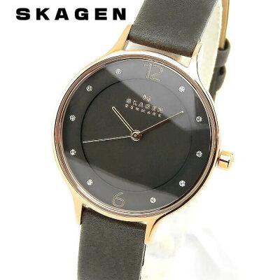 SKAGEN スカーゲン Anita アニタ レディース 腕時計 革ベルト レザー クオーツ アナログ グレー 誕生日プレゼント 女性 ギフト SKW2267 海外モデル