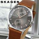スカーゲン 腕時計(メンズ) SKAGEN スカーゲン SKW6086 海外モデル メンズ 腕時計 ウォッチ 革ベルト レザー クオーツ アナログ グレー 茶 ブラウン 北欧デザイン