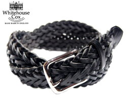 ホワイトハウスコックス WHITEHOUSE COX(ホワイトハウスコックス)/#P1127 32mm SILVER PLAITED MESH BELT/full grain cow hide leather/black