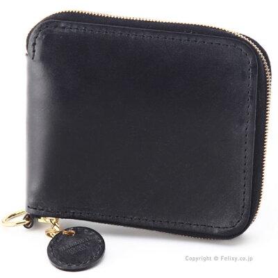 グレンロイヤル 財布 GLENROYAL 03-6156 BLACK ラウンドファスナー 小銭入れ付き 二つ折り財布