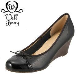 イング ウェルビーイング Well Being パンプス 9002MD レディース 靴 シューズ 2E相当 ウェッジソールパンプス ラウンドトゥ リボン 美脚 日本製 国産 大きいサイズ対応 25.0cm 25.5cm 26.0cm ブラック×エナメル SP