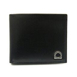 フェラガモ 二つ折り財布(メンズ) フェラガモ/Salvatore Ferragamo GANCINO ONE 二つ折り小銭入れ付メンズ財布・66-8669 NERO ブラック