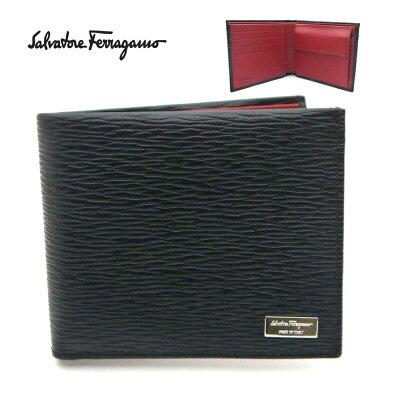 【新品】フェラガモ/Salvatore Ferragamo 二つ折り小銭入れ付メンズ財布・66-7070 ブラック/内側レッド【即発送可能】