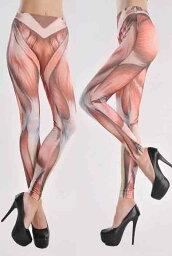 筋肉 レギンス レディースのレギンス スパッツ(レギンスパンツ) 派手な柄 筋肉(マッスル)の柄 下半身が剥き出しすぎる コスプレやコスチュームに レギパン ダンス 衣装 ヒップホップ