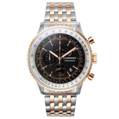 ギオネ GUIONNET Flight Timer Professional メンズ 時計 腕時計 PG-FT44PSBK 【ブランド】 とけい ウォッチ 楽天1位(12月4日現在)プレゼント 送料無料 あす楽 ブルーインパルス コラボ レザーベルト 無反射コーティング