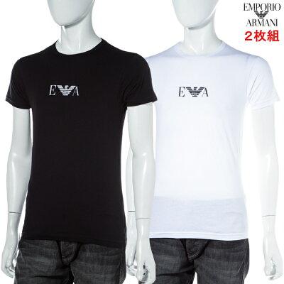 2枚組 アルマーニ エンポリオアルマーニ Emporio Armani Tシャツアンダーウェア Tシャツ 半袖 丸首 メンズ 111267 CC715 2P ブラック ホワイト 楽ギフ_包装 【ラッキーシール対応】