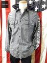 カルバンクライン ブルーシャンブレーフードシャツ 長袖 ロゴ袖プリント calvin klein JEANS パーカー アウトレット品 ビンテージ加工 メンズ S Mサイズ 送料無料