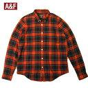 アバクロ チェックネルシャツ ボタンダウン Abercrombie&Fitch 長袖 ポケットあり レッド×ネイビー メンズ 大きいサイズ XXLビッグサイズ 送料無料 送料込み