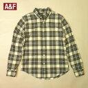 アバクロ チェックシャツ ボタンダウン Abercrombie&Fitch 長袖 ポケットあり カーキ×オフホワイト メンズ Sサイズ 送料無料 送料込み