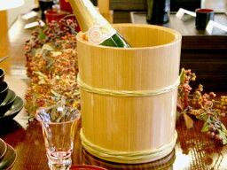 木製ワインクーラー 木曽さわらワインクーラー 竹タガ 【木曽の漆器よし彦】