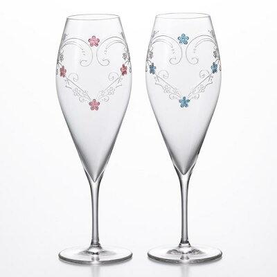 名入れ ギフト シャンパングラスGLASS WORKS NARUMI (鳴海製陶)with LOVE シャンパングラス(フルート)ペア 190cc ペアシャンパングラス ペアグラス名入れハートのグラス